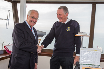Lord Lieutenant Martin White congratulates Station Manager Tony Stables